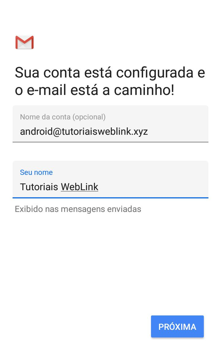 definir nome de conta de email no Gmail