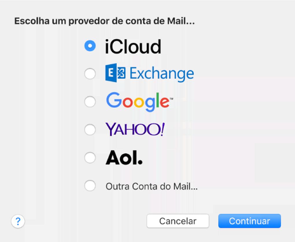 seleção de provedores de email no macos