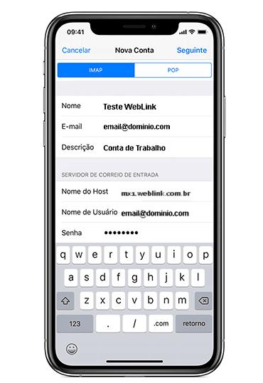 tela de iphone exibindo detalhes avançados de configuração de email