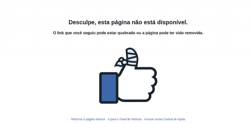 exemplo de página no facebook com erro 404