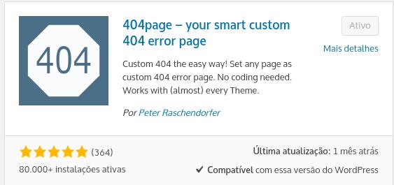 plugin 404page para fazer página erro 404 personalizada