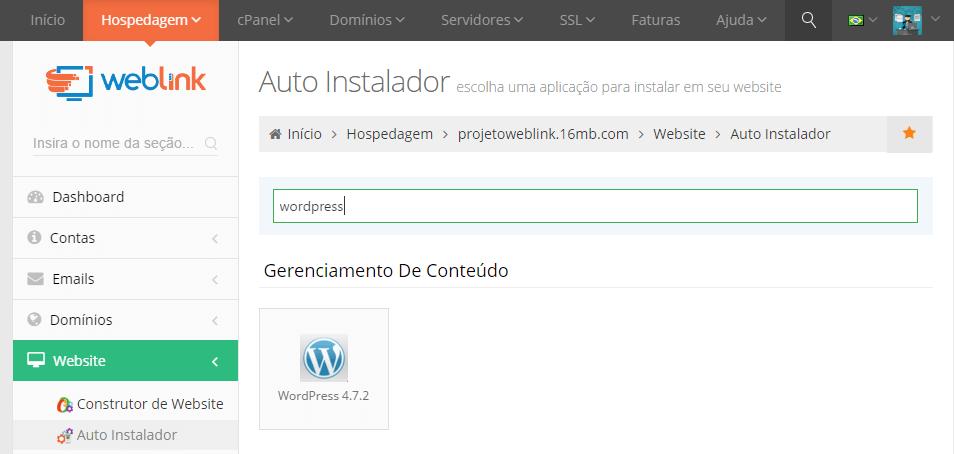 wordpress-instalar weblink