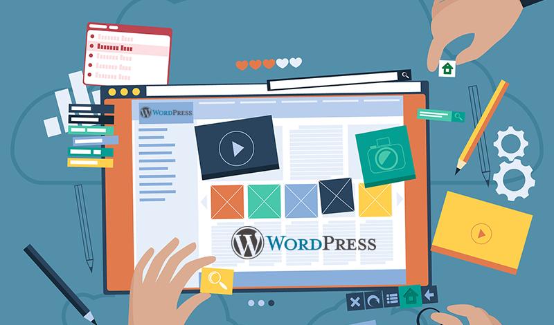 ícones e instrumentos de trabalho sobre uma tela com tema wordpress