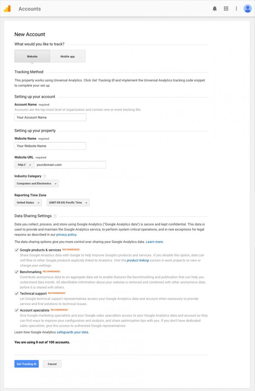 detalhes de nova conta no google analytics