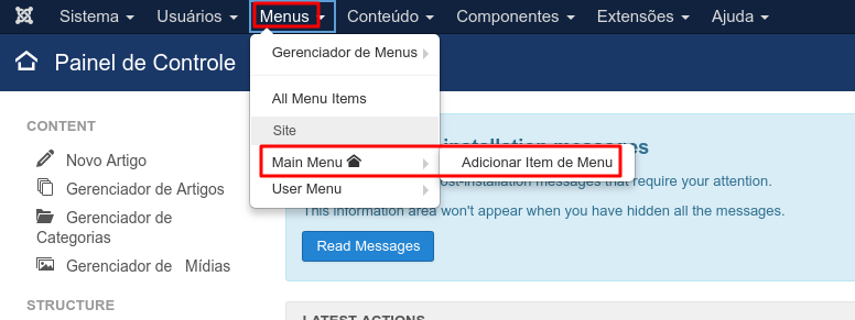 adicionar item de menu ao joomla