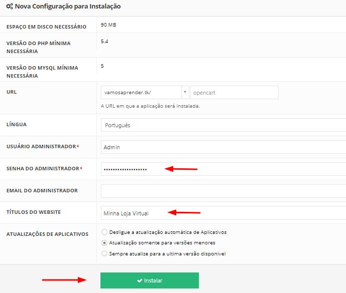 informações de instalação do opencart