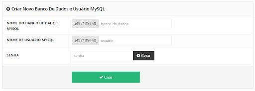 credenciais de criação do banco de dados mysql