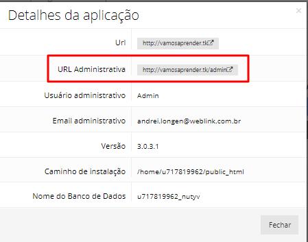 detalhes da aplicação para abrir opencart