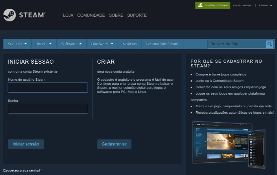 página de criar conta de usuário na Steam
