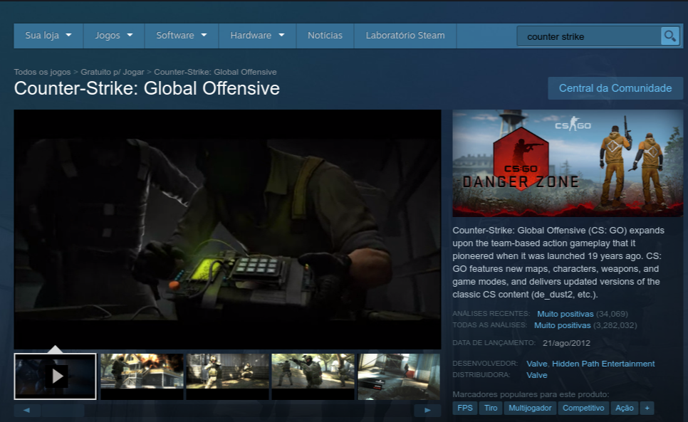 página na steam de counter strike global offensive