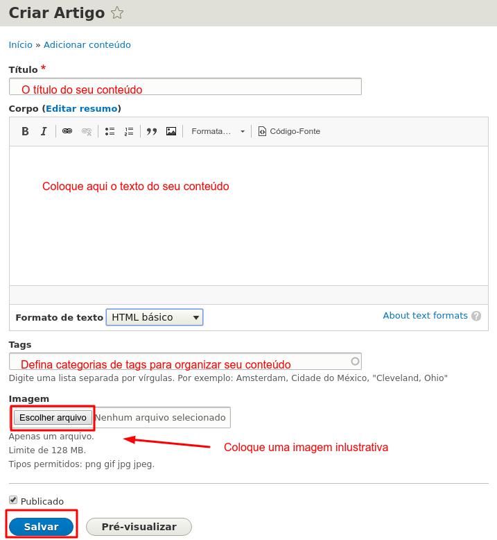 editar e publicar artigo no drupal