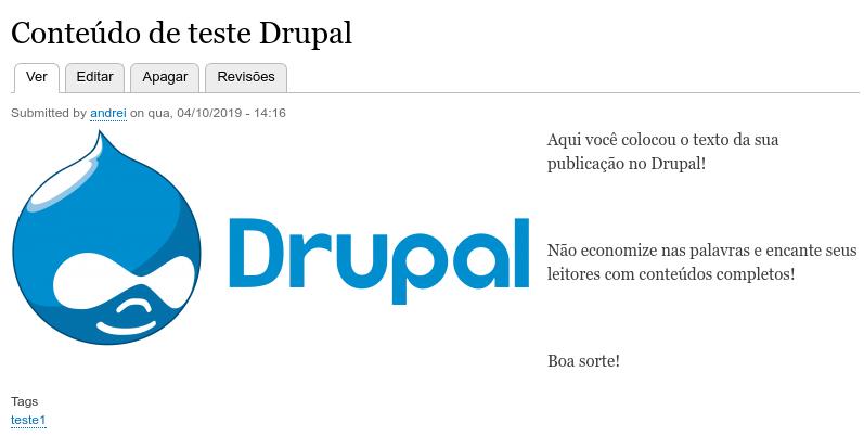 exemplo de conteúdo publicado no drupal