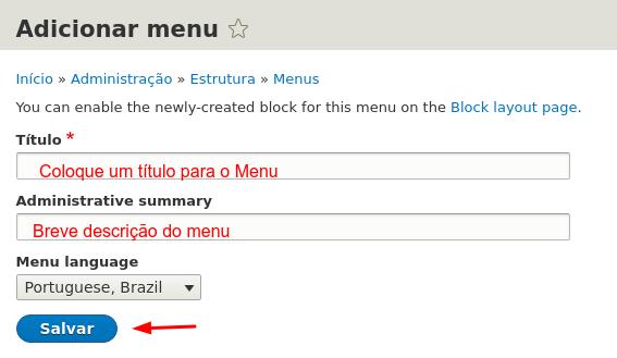 adicionar título ao menu do drupal