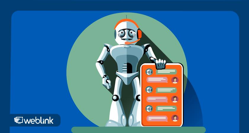 robô segura nas mãos modelo de chatbot