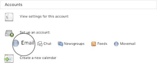 adicionar conta de email no thunderbird