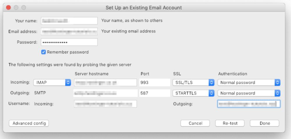configuração de cliente de email no thunderbird
