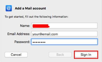 credenciais de cliente de email no mac mail