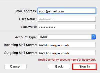 dados de servidor de email no mac mail