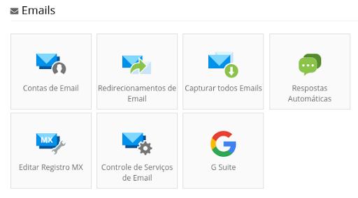 seção de emails na Weblink