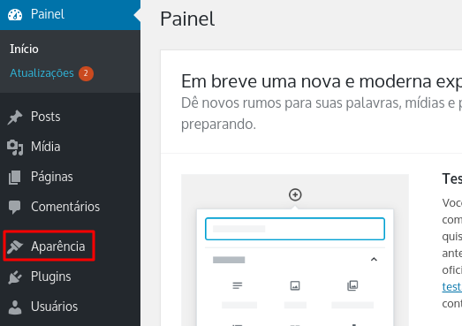 aba Aparência no WordPress