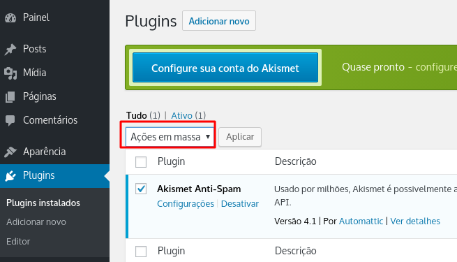 desativar e excluir um plugin no wordpress