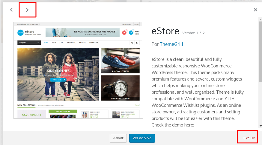excluir ou remover tema do wordpress