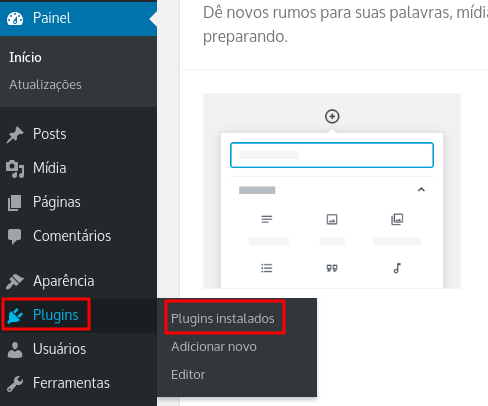 plugins instalados no WordPress