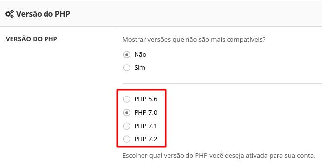 escolher versão do php do serviço de hospedagem