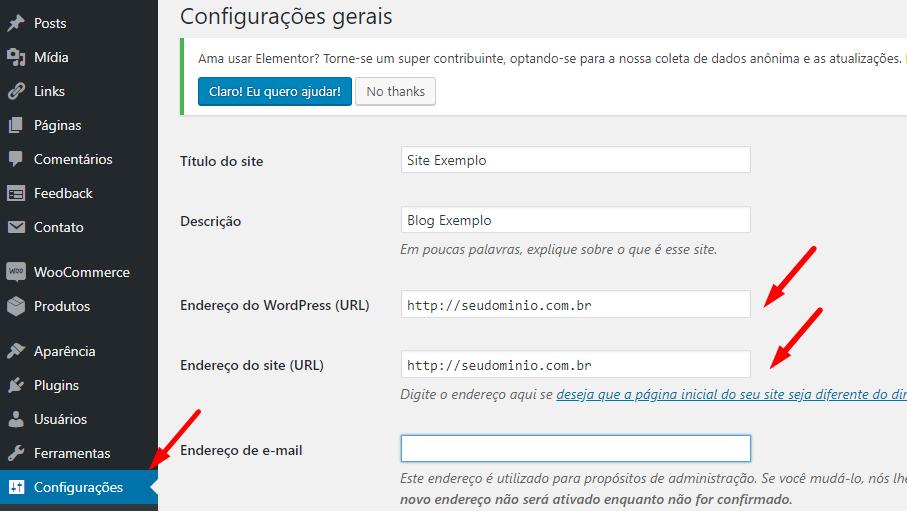 tela de configuração da URL no wordpress