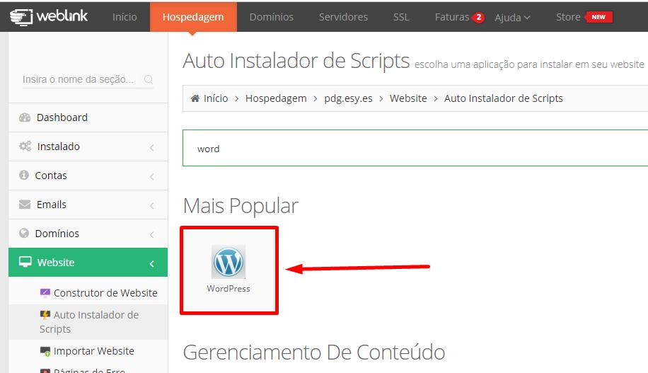 instalando wordpress automaticamente pela hospedagem