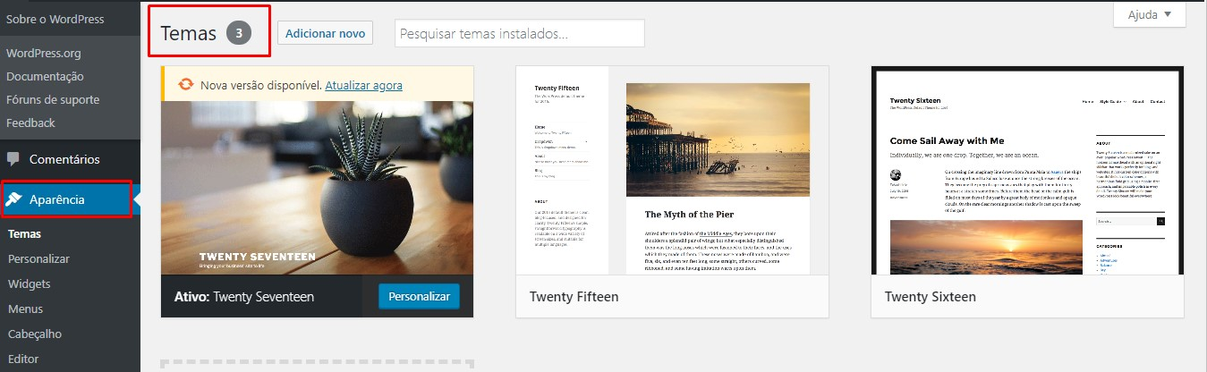 escolhendo temas no wordpress cms
