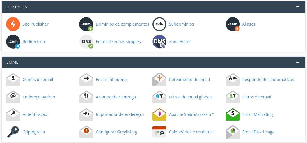 gerenciamento de domínios e emails no cpanel