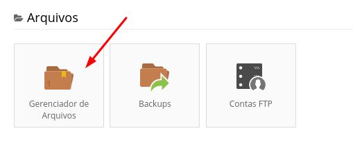 gerenciador de arquivos do painel de hospedagem de sites