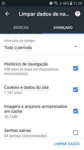 limpar cache no google chrome no android