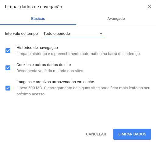 limpar cache no google chrome