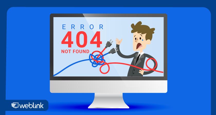 exemplo de aviso de página com o erro 404 not found