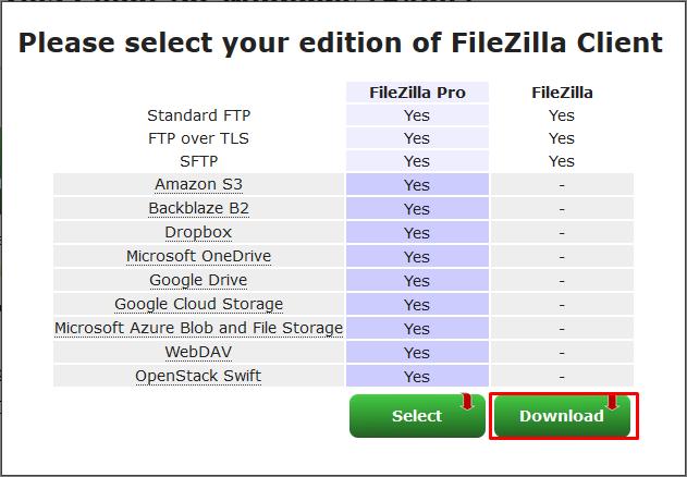 download da versão grátis do filezilla