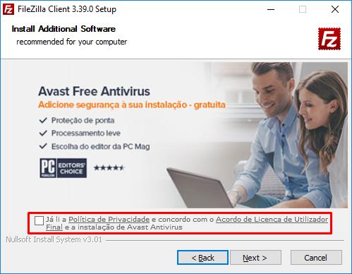 escolher se instalar antivirus junto com filezilla