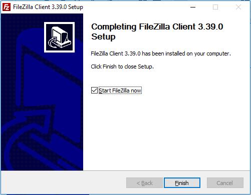 finalizar a instalação e configuração do filezilla