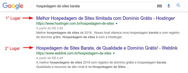 posição da WebLink no Google para hospedagem de sites barata