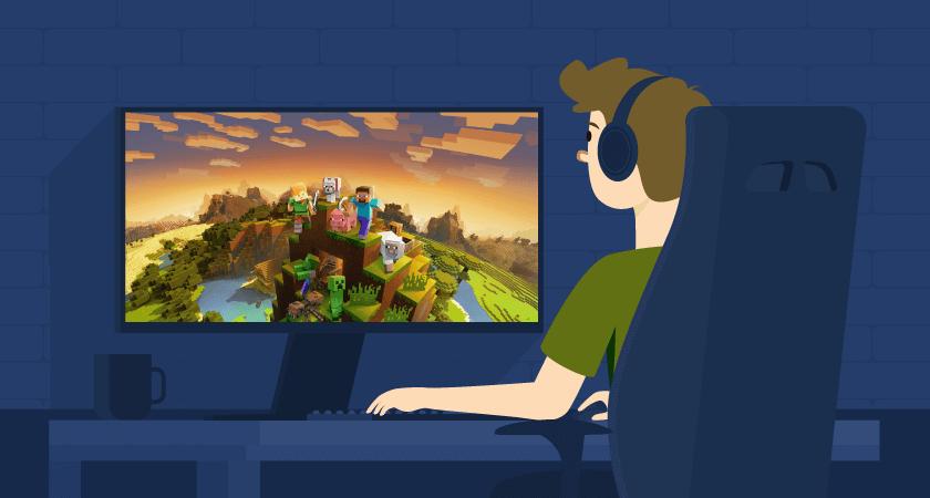 garoto aprendendo como criar um servidor de Minecraft e jogando o game