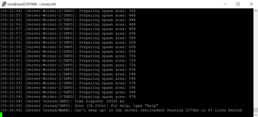tela de execução do servidor Minecraft no Linux