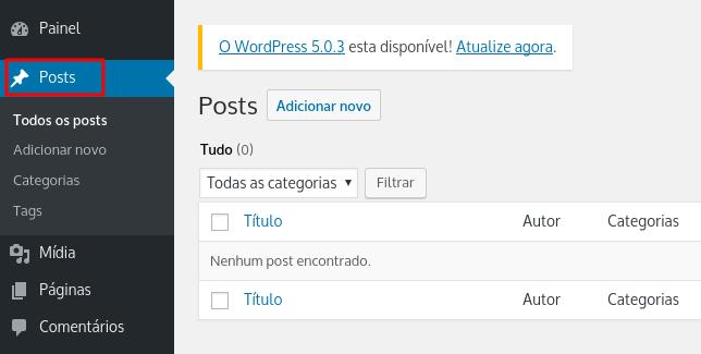 seção de conteúdos wordpress