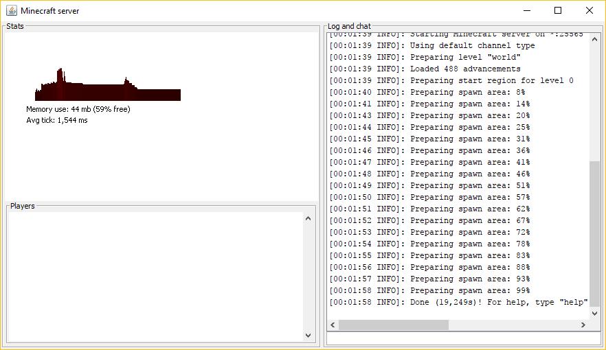 janela que mostra o servidor de Minecraft em execução