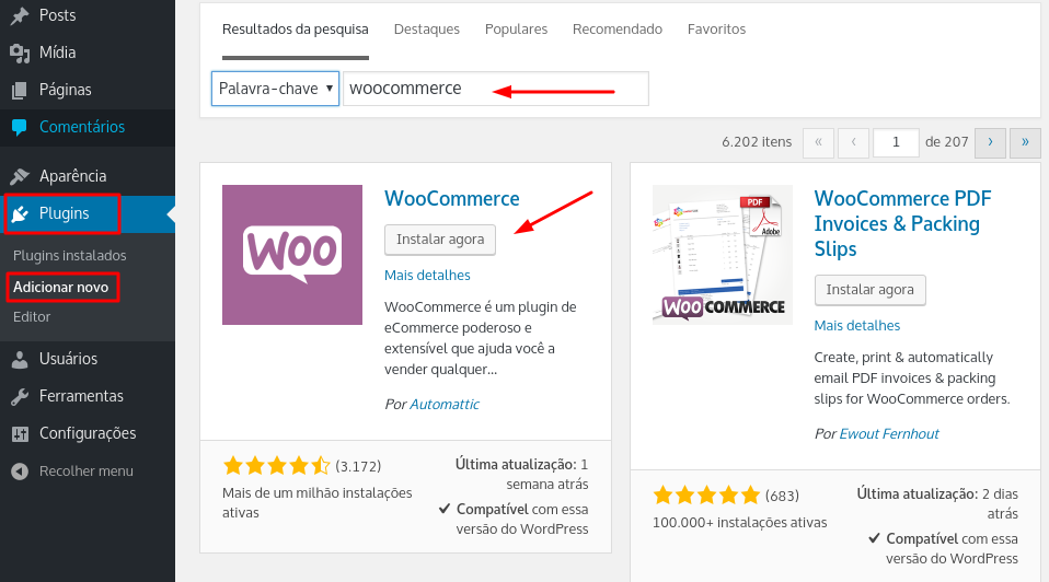 instalar plugin woocommerce