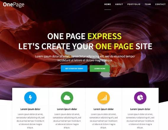 tema one page express para wordpress