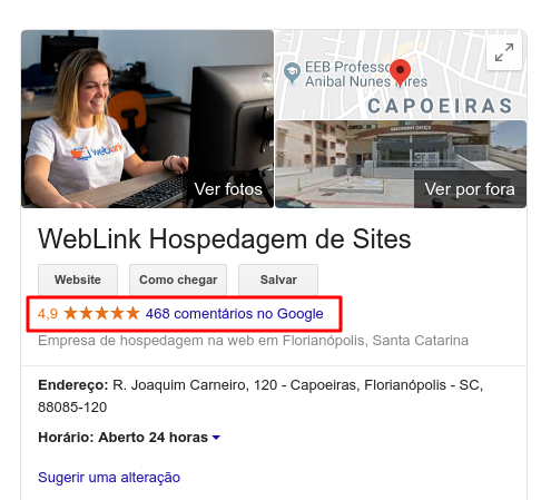 perfil da weblink no google my business