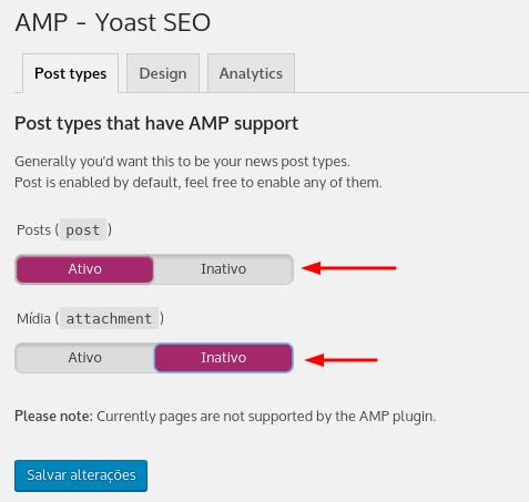 liberar suporte amp para páginas e mídias no yoast seo