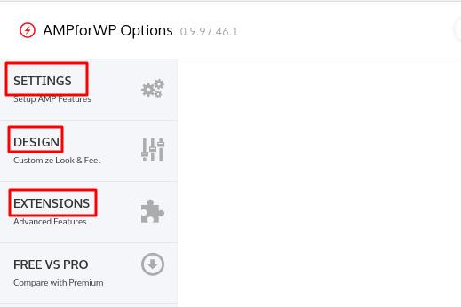 configurações amp for wp