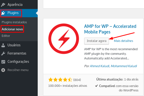 instalar plugin amp for wp